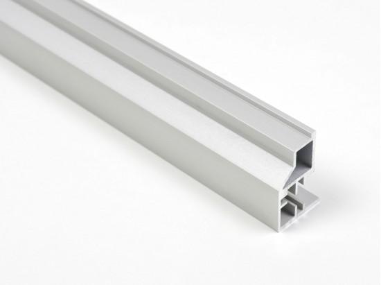 Профиль закрытый для стеклянной полки LED, серебро - Raumplus